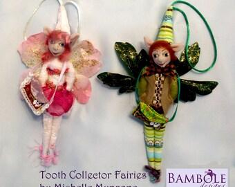 """MM249E - The TOOTH FAIRIES - 9"""" (23 cm) Tall Cloth Doll Pattern"""