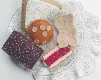 Felt Food Australian Biscuits and Sweets Tea Party Pack, Play Kitchen, Fairy Bread, Anzac Biscuit, Lamington, Iced Vovo, Teddy Bear Biscuit,