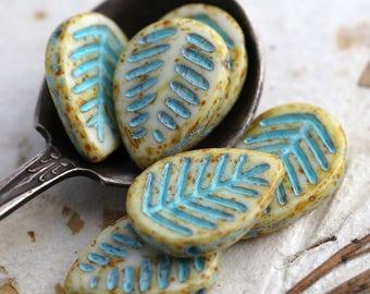 BLUE CREAM ASPEN .. 6 Picasso Czech Glass Leaf Beads 16x12mm (5985-6)