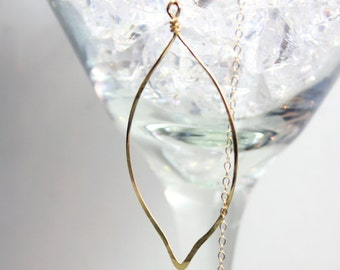 Gold Leaf Lariat with Blue Topaz, Freshwater Pearl & Smoky Quartz