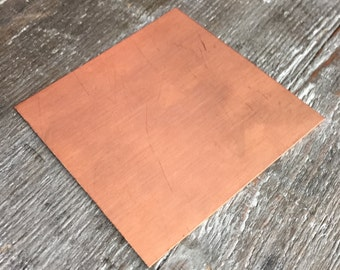 Copper Sheet 26, 24, 22, 20, 18, 16, 14 Gauge 3 x 3 inches Jewelry Supplies Jewelry Findings