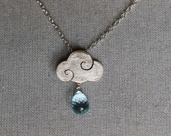 SWEET CLOUDS - satin sterling silver necklace with blue topaz drop