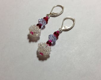 Snowball Earrings, Pink, Red, Lavender & Sterling