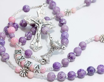 Personalized Rosary for First Communion in purple & pink