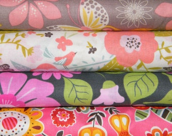 4 FQ Bundle – BOLD Pink FLORAL Prints 100% Cotton Quilt Craft Fabric Fat Quarters