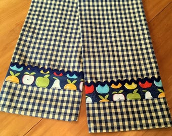 Navy & Yellow Checked Tea Towels with Fruit Trim