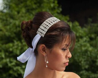Sara - Sophisticated Floral Crystal Ribbon Headband