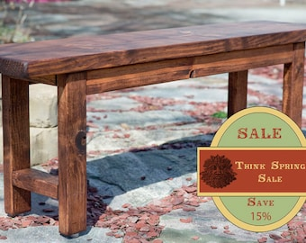 "SPRING SALE!! Entryway Bench 48"", Wood Bench, Wooden Bench, Rustic Bench Finished in Red Oak Stain"