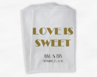 Love Is Sweet Candy Buffet Bags - Black and Gold Art Deco Custom Favor Bags for Wedding, Bridal Shower - Brown Paper Treat Bags (0127)