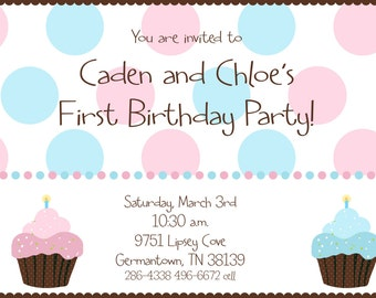 Twin First Birthday - Cupcake Birthday Party Invitation - Digital File - Polka Dots - Boy Girl Twin Invitation