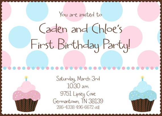 Twin first birthday cupcake birthday party invitation like this item filmwisefo Gallery