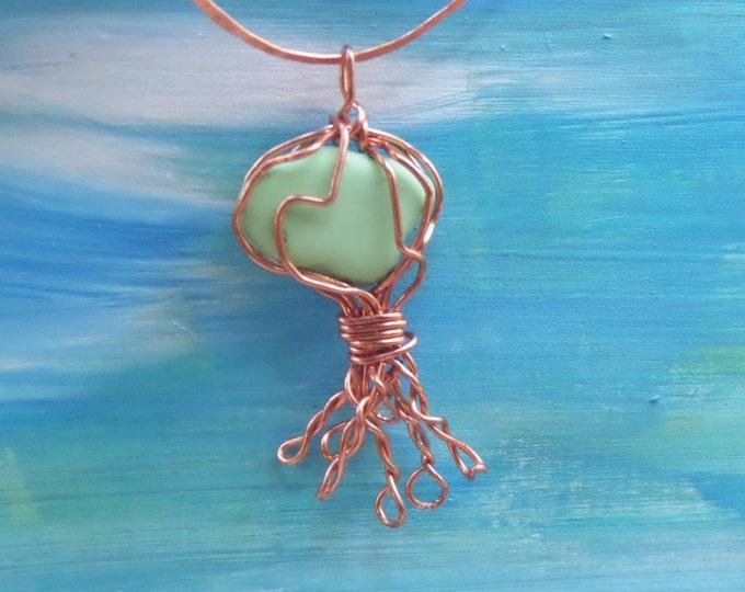 BIG jellyfish ornamanet with English sea glass - unique eco friendly beach glass jewelry