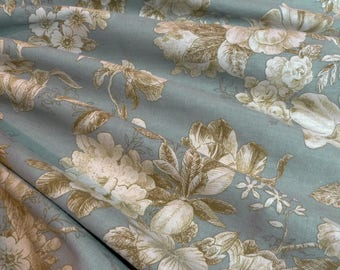 Richloom Floral Cotton Sepia Tones On Bluegreen Drapery Fabric