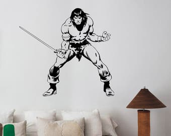 Conan the Barbarian Wall Decal Gladiator Comics Superhero Vinyl Sticker Art Swordsman Decorations for Home Room Bedroom Movie Decor cb2