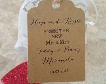 Personalized Favor Tags 21/2'', Wedding tags, Thank You tags, Favor tags, Gift tags, hugs and kisses from mr and mrs