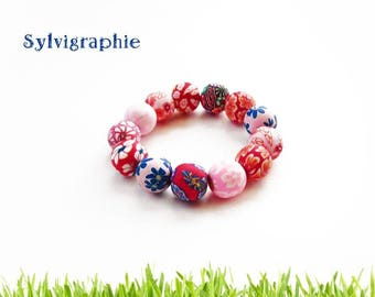Bracelet red polymer clay beads