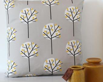 Grey Cushion Cover Moonlight Tree Print Decorative Throw Pillow Scandinavian Fabric Home Decor Cotton Linen Fabric Square Cushion