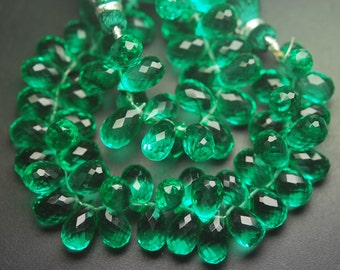 10 Pcs of Extremely Beautiful,Super Finest,Green Emerald Color QUARTZ Micro Faceted Tear Drops Shape Briolettes,10-11mm aprx