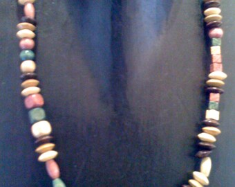 Boho Wooden Necklace/ Vintage 1970s Multi Beaded Brown Single Strand Chic Hippie Jewelry