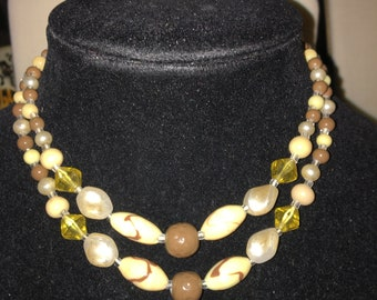 Vintage Choker Necklace in Earth Colors, Signed Japan