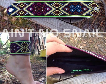 Secret Pocket Anklet or Wristband, hidden zipper compartment for psytrance festivals, concerts, rave partys