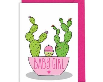 Cute baby girl card, Cactus card, New baby card, Cactus baby card, New baby congratulations, Funny new baby card