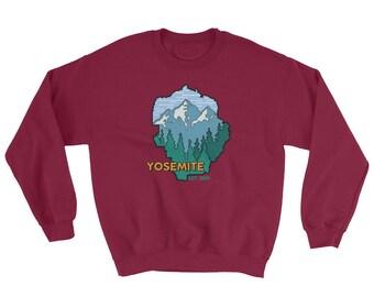 Yosemite National Park California 8 Bit Map Sweatshirt - Mountain Forest Scape Shirt - Park Ranger Nature 1890 Sweatshirt