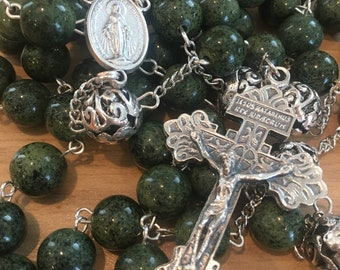 Forest Green Miraculous Medal/Pardon Crucifix Rosary
