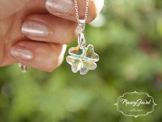 Four leaf clover, crystal necklace, lucky gift, 925 sterling silver, Swarovski crystal, handmade jewelry, wedding jewelry, birthday gift
