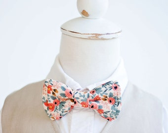 Bow Tie, Bow Ties, Boys Bow Ties, Baby Bow Ties, Bowtie, Bowties, Ring Bearer, Wedding Bow Ties, Rifle Paper Co - Rosa In Peach