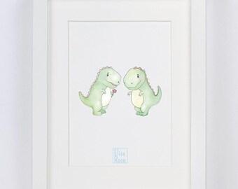 Dinosaurs // Watercolour Print