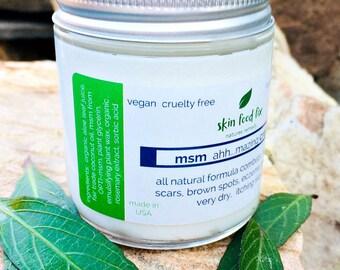 MSM Cream Acne Rosacea Psoriasis Eczema, Skin Opti-msm acne scars wrinkles collagen production 2 ounce and 4 ounce jar Methylsulfonylmethane