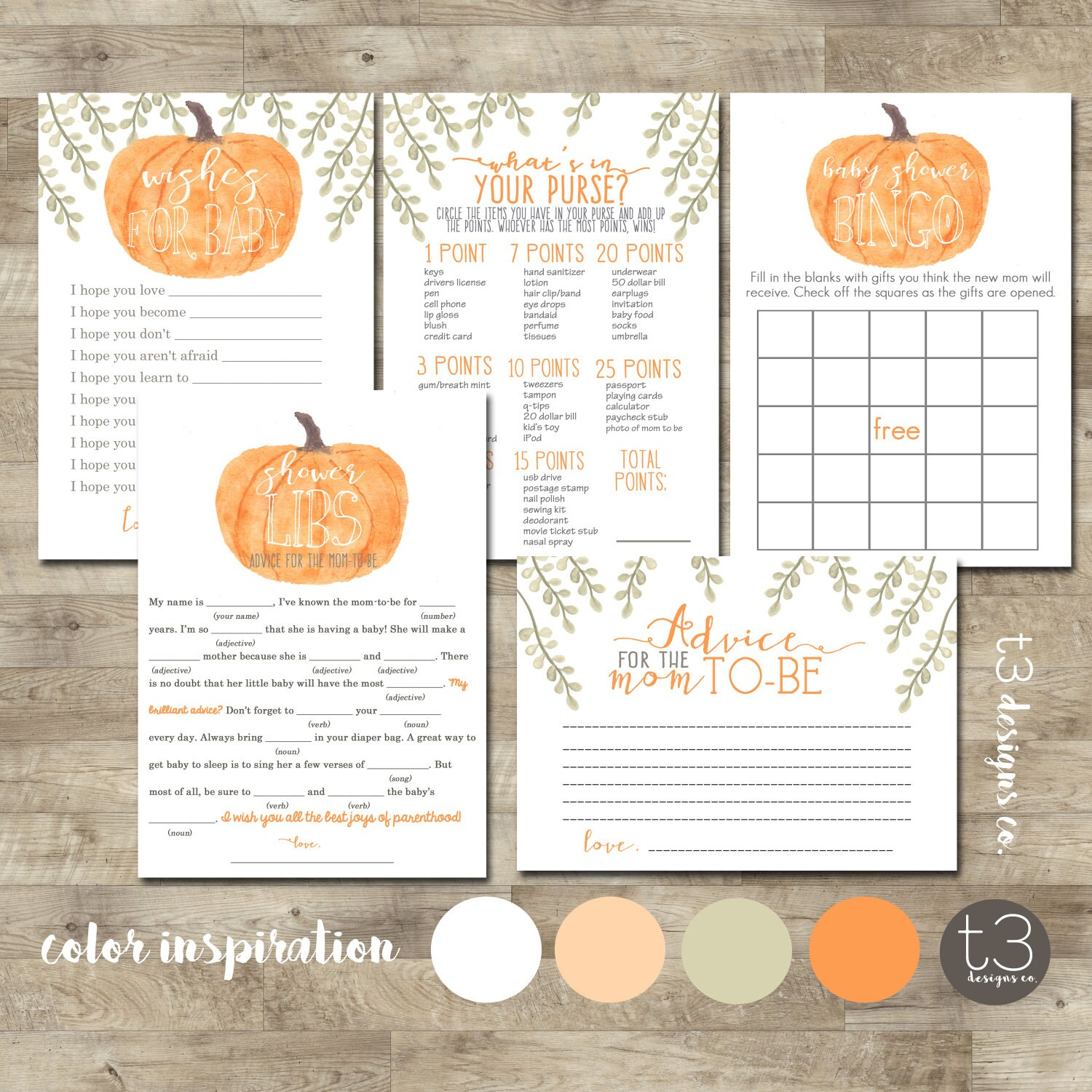 Pumpkin Baby Shower Games Package, Baby Shower games, printable game ...