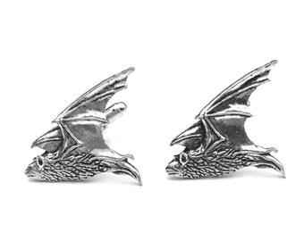 Bat Cuff Link, Bat Cufflinks, Bat in Flight, Tallon, Vampire Cufflinks Jewelry, Gifts for Him, Father's Day, Men's Accessories