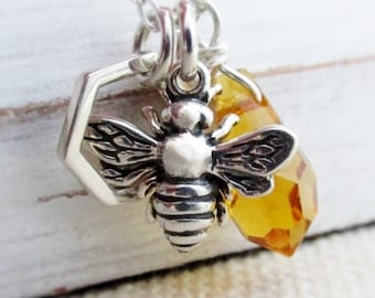 Honeybee Charm Necklace, Bee Necklace, Save The Bees, Silver Bee Necklace, Honeycomb, Honeybee Lovers, Beekeepers Gift, Honeybee Jewelry,