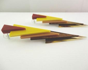Zohar | Wood & Perspex Triangles | Perspex Earrings | Plexiglass Earrings | Stud Earrings | Hand-made manufacturing 100%  | Made in Italy