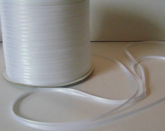 Full roll of 200 metres (218.7 yards) 3mm narrow white satin ribbon wedding favours cards sewing baby knitting embroidery