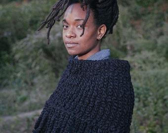Cool Breeze Capelet in Black/Neckwarmer/Chunky Crochet Capelet/Statement Handmade Piece