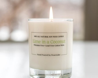 Lime in a Coconut, all natural soy candle, vegan, phthalates-free, and lead-free