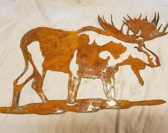 16 inch Bull Moose Metal Rough Rusty Wall Art Ornament Stencil Cabin Wildlife Deer Alaska Yukon Craft Sign