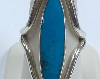 Beautiful Sterling Silver Plate Elongated Oval Turquoise Open Side Ring