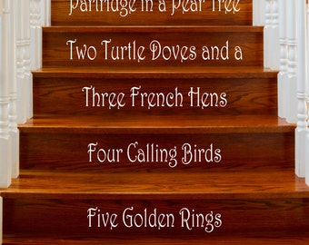 The Twelve Days of Christmas Decorations - Stair Decals - Holiday Home Decor - Christmas Wall Decor - 12 Days of Christmas - FREE SHIPPING