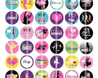 Just Dance - 1 inch Round - Digital Collage Sheet Bottle Cap Pendants, Hair bow Centers, Badges, Cupcake toppers, etc.