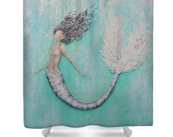 mermaid shower curtain, teal aqua bathroom mermaid curtain, mermaid bathroom accessories, Original art by Nancy Quiaoit.