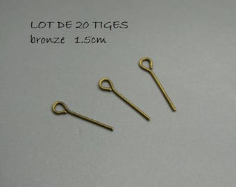 SET of 20 stems eye 1.5 cm bronze 15 mm (F16)