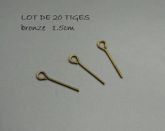 SET of 20 stems eye 1.5 cm bronze 15 mm (F16)