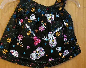Apron - child's half black Sugar Skull