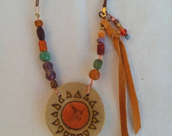Sun and Moon reversible summer necklace, handmade