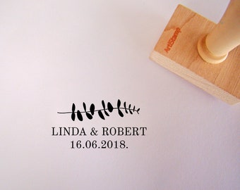 Eucalyptus Save The Date Wedding Stamp / Wedding Invitation / Wedding Favors Gift / Custom Rubber Stamp / Personalized Wooden Stamp