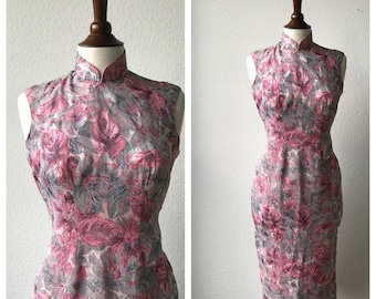 Vintage pink and grey floral qipao sz M or L